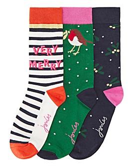 Joules 3Pack Christmas Robin Socks