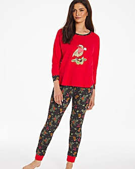 Joe Browns Christmas Robin PJ Set