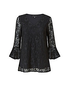 Mela London Curve Black Lace Top