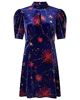 Monsoon Harper Star Printed Velvet Dress