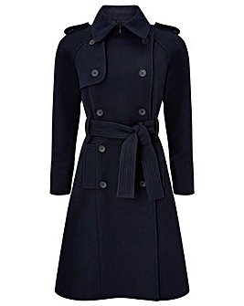 Monsoon Navy Wool Trench Coat