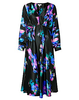 Monsoon BLUR PRINT SATIN MIDI DRESS