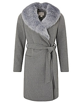 Monsoon Fur Collar Grey Wool Coat