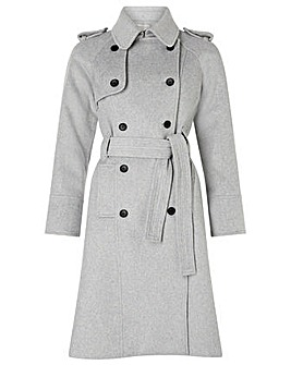 Monsoon Grey Wool Trench Coat
