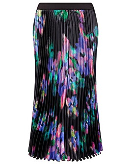 Monsoon BLUR PRINT PLEATED MIDI SKIRT