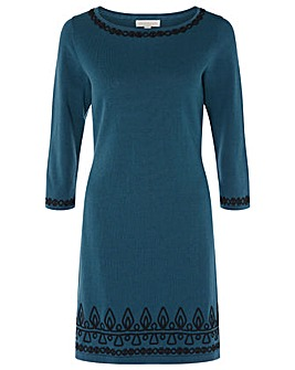 Monsoon Cornelli Detail Knitted Dress