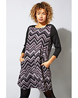 Roman Zig Zag Pocket Swing Dress