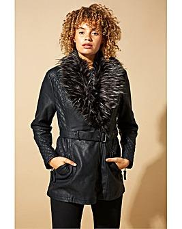 Roman Longline Faux Leather Belted Coat