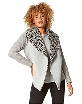 Roman Animal Print Faux Shearling Coatigan