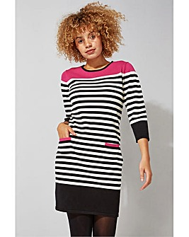 Roman Stripe Pocket Knitted Shift Dress