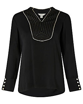 Monsoon Lurex Bib Long Sleeve Top