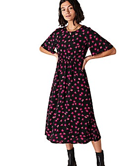 Monsoon Abstract Floral Print Midi Dress