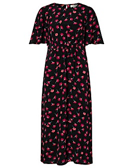 Monsoon Abstract Floral Print Midi Dress
