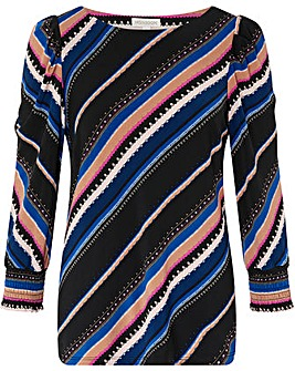 Monsoon Stripe Print Smart Top