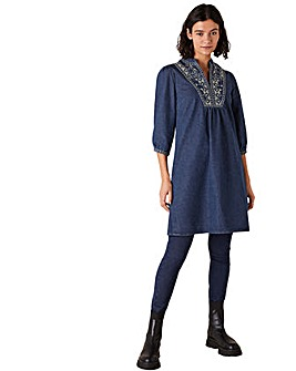 Monsoon Embroidered Short Denim Dress
