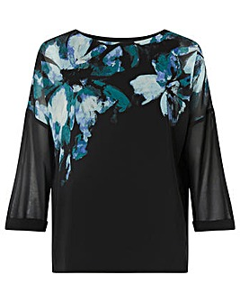 Monsoon Floral Placement Print Top
