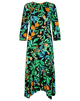 Monsoon Leaf Print Hanky Hem Dress