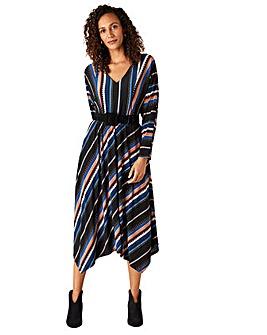 Monsoon Stripe Print Midi Dress