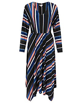 Monsoon Stripe Print Midi Dress