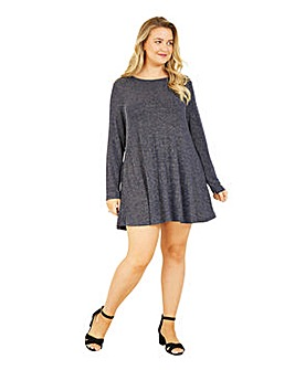 Mela London Curve Navy Metallic Tunic Dress