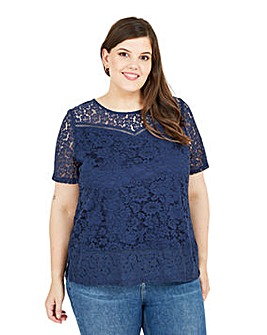 Yumi Curves Navy Lace Short Sleeve Top