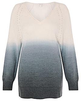 Monsoon V Neck Dip Dye Jumper