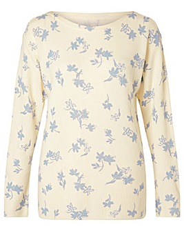 Monsoon Ellie Print Slash Neck Jumper