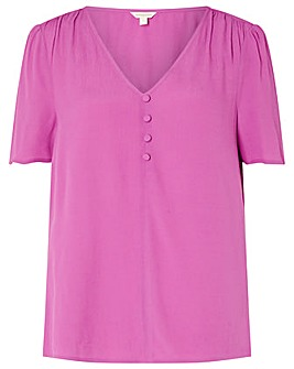 Monsoon Button Front V Neck Top