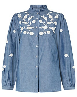 Monsoon FLORAL EMBROIDERED DENIM TOP