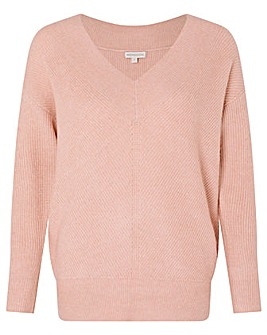 Monsoon Georgina V Neck Rib Jumper