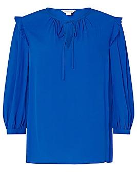 Monsoon Cobalt 3/4 Sleeve Tie Neck Top