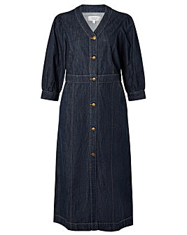 Monsoon Midi V Neck Denim Dress