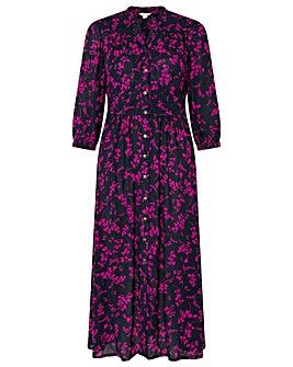 Monsoon Navy Printed Dolly Midi Dress