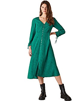 Monsoon Green Printed Midi Dress