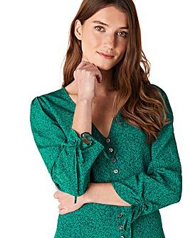 Monsoon Green Printed Midi Dress