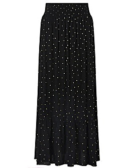 Monsoon Foil Print Crinkle Maxi Skirt
