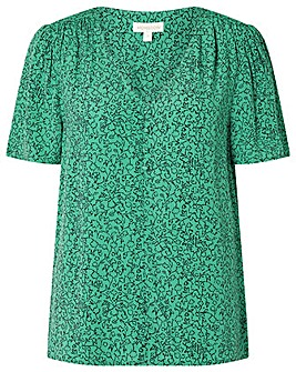Monsoon Green Printed V Neck Top