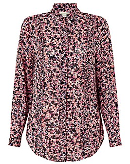 Monsoon PINK PRINTED RUFFLE FRONT BLOUSE