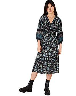 Monsoon BLACK FLORAL PRINTED MIDI DRESS