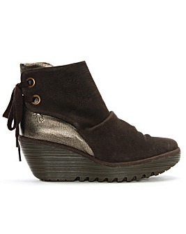 Fly London Yama Suede Wedge Ankle Boots