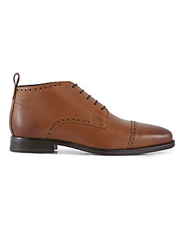 Leather Brogue Detail Boot Wide Fit