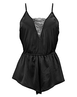 Pour Moi Dusk Satin and Lace Playsuit