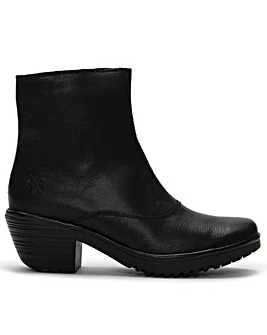 Fly London Wine Block Heel Ankle Boots