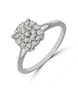 9K 0.25Ct Cluster Ring