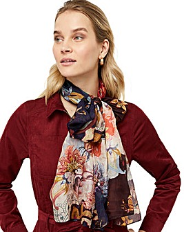 Monsoon Laura Large Floral Silk Scarf