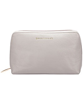 Smith & Canova Soft Grain Leather Zip Top Cosmetic Bag