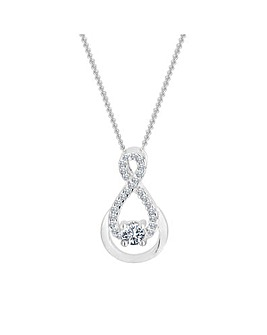 Sterling Silver 925 Cubic Zirconia Half Infinity Necklace