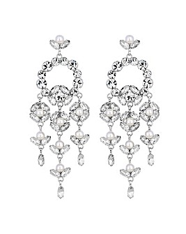 Mood Silver Floral Chandelier Earring