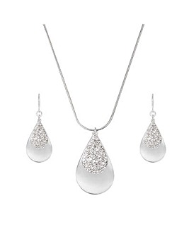 Mood Silver Pave Teardrop Set
