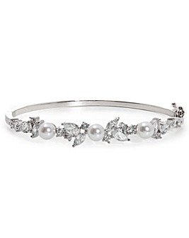 Silver Plated Pearl And Cubic Zirconia Classic Bangle
